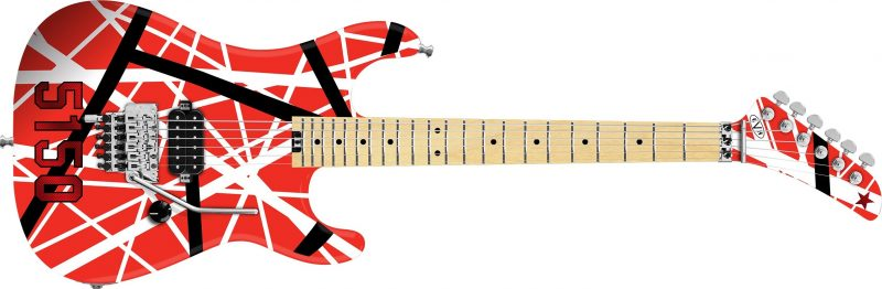 EVH Striped Series 5150 Maple Fingerboard Red Black and White Stripes 800x262