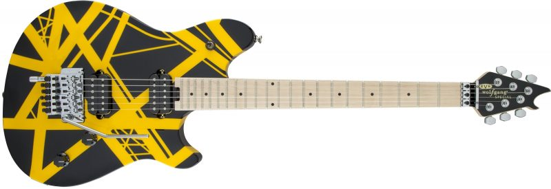 EVH Wolfgang Special Striped Maple Fingerboard Black and Yellow 800x275